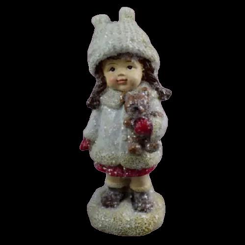 Figurina decorativa pentru Craciun realizata din ceramica – Copil cu cadou [0]