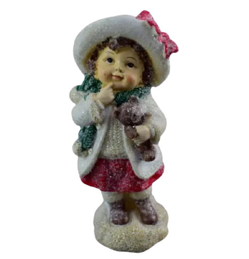 Figurina decorativa pentru Craciun realizata din ceramica – Copil cu ursulet 1