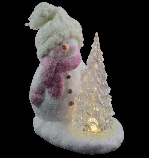Decoratiune realizata din ceramica. plastic si material textil cu lumina led – Om de zapada cu brad 1