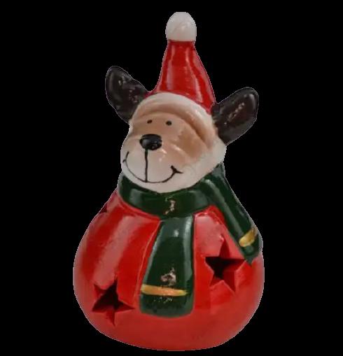 Figurina decorativa realizata din ceramica – Ren cu caciula si fular 10 cm [0]