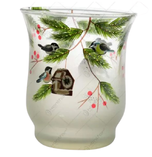 Candela realizata din sticla – Design cu crengi de brad si bobite 1