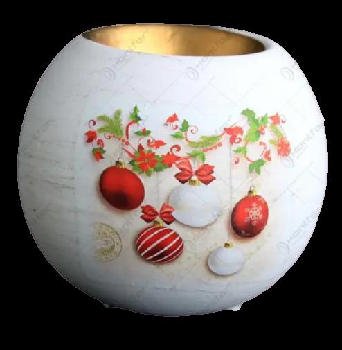 Suport in forma de glob pentru lumanare realizat din ceramica – Design cu glob si ghirlanda 1