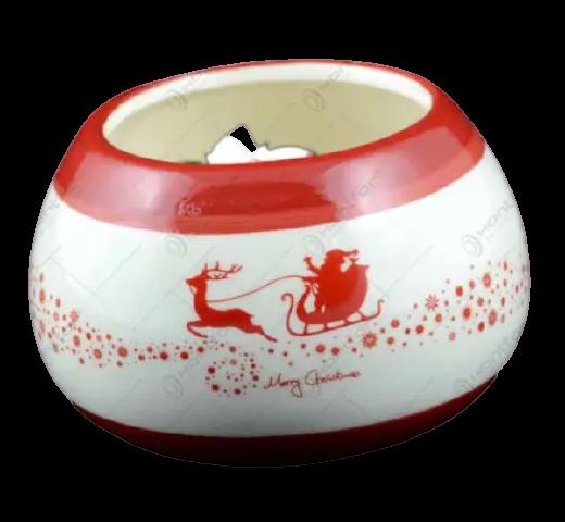 Candela rotunda realizata din ceramica – Design Mos Craciun 1
