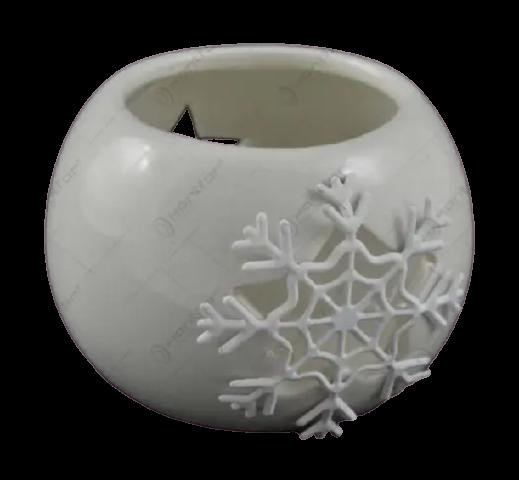 Candela rotunda realizata din ceramica – Design fulg de nea (Diverse culori) 1