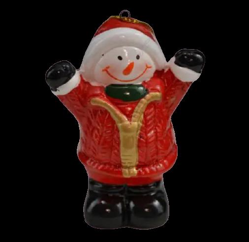 Figurina decorativa realizata din ceramica – Om de zapada cu caciula 8 cm 0