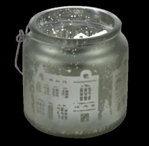 Candela cu maner realizata din sticla – Design cu peisaj de iarna 1