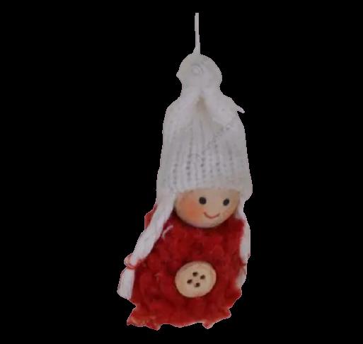 Decoratiune de agatat pentru Craciun realizat din pasla si material textil – Copil cu caciula 0