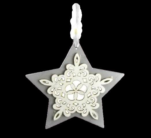 Decoratiune pentru geam realizata din lemn – Forma Inima/Stea – Argintiu 0
