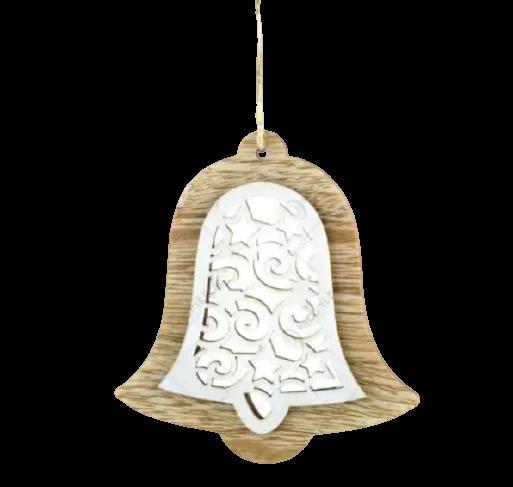 Decoratiune pentru geam realizata din lemn – Forma Inima/Clopotel – Culoare naturala [0]