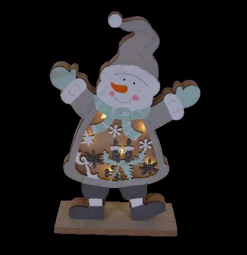 Decoratiune pentru masa cu led realizata din lemn in forma de om de zapada – Design cu lumanare si fulgi de nea 1