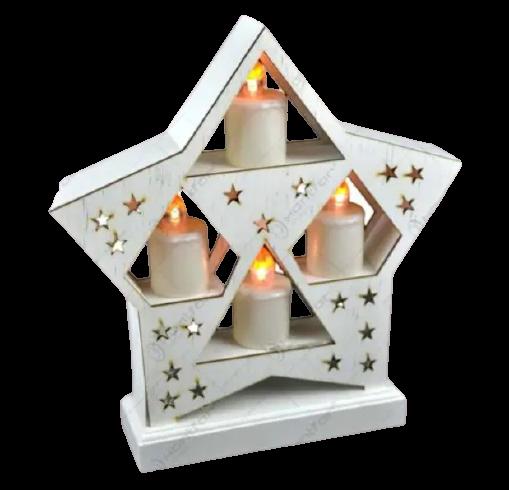 Ornament de craciun – Suport alb in forma de stea cu 4 lumanari led albe 0