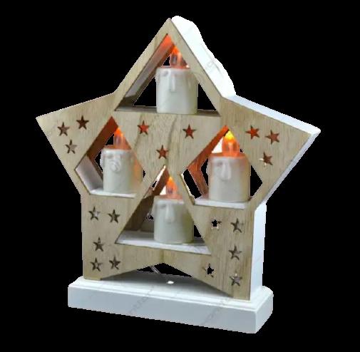 Ornament de craciun – Suport de culoare naturala in forma de stea cu 4 lumanari led albe [0]