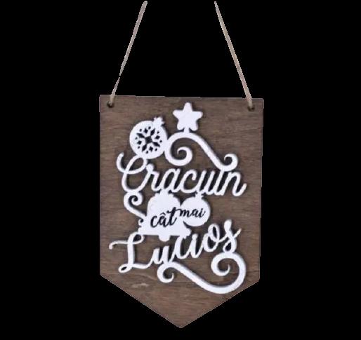 """Decoratiune de agatat pentru Craciun realizata din lemn – Design inscriptionat """"Craciun cat mai lucios"""" 0"""