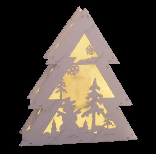 Decoratiune pentru craciun realizata din lemn si dotata cu LED – Design Brad 0