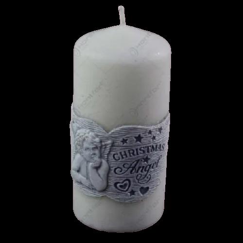 Lumanare craciun in forma cilindrica – Design Christmas angel- 2 culori 0