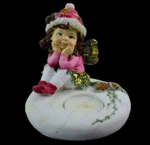 Suport realizat din ceramica pentru lumanare tip pastila – Design Craciun cu copil [1]