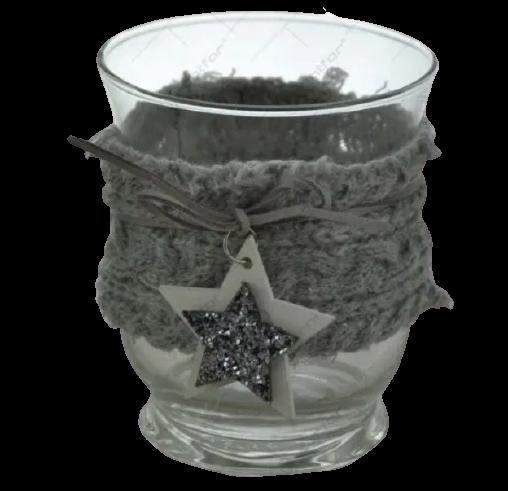 Candela decorata realizata din sticla – Design cu steluta 1