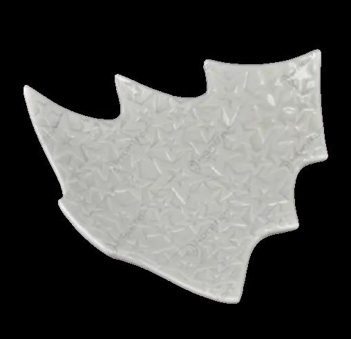 Platou alb in forma de brad decorat cu cu stele realizat din ceramica (20cm) 0