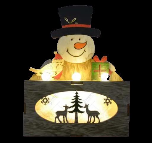 Ornament cu led realizat din lemn - Om de zapada 2
