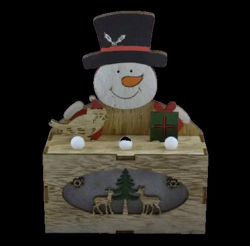 Ornament cu led realizat din lemn - Om de zapada 1