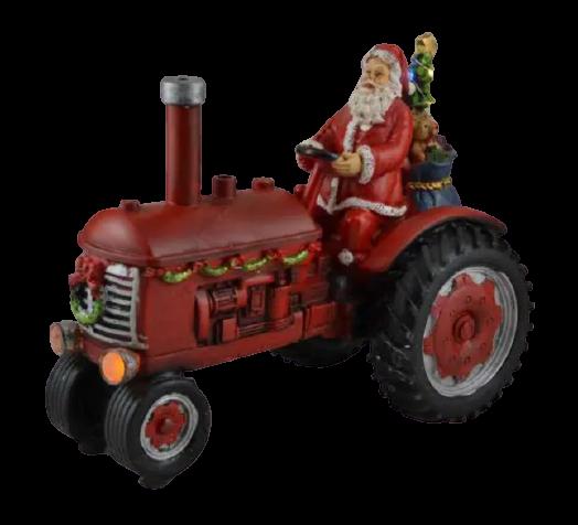 Decoratiune muzicala cu led pentru sarbatorile de iarna realizata din rasina – Mos Craciun cu cadouri in tractor 0