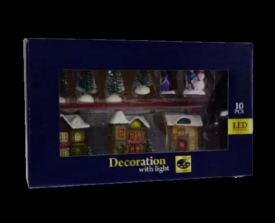 Set 10 decoratiuni cu led pentru Craciun – Casute. brazi si figurine [0]