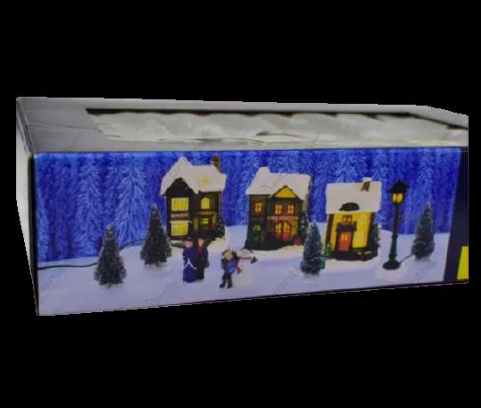 Set 10 decoratiuni cu led pentru Craciun – Casute. brazi si figurine [1]