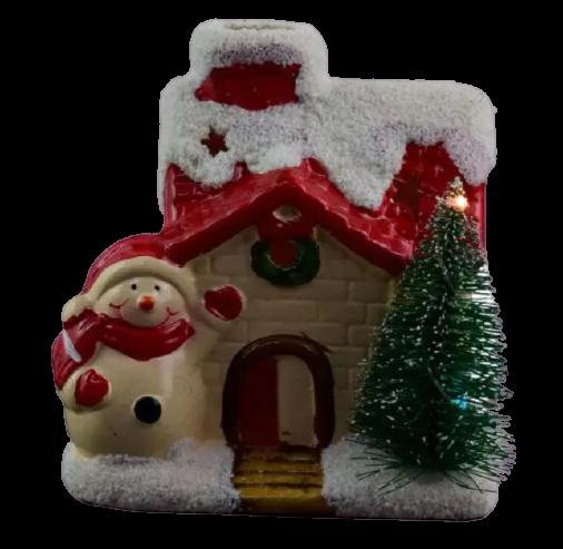 Decoratiune realizata din ceramica pentru Craciun cu lumini led – Casuta cu brad si om de zapada [1]