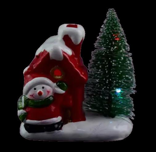 Decoratiune realizata din ceramica pentru Craciun cu lumini led – Casuta cu brad si om de zapada 1