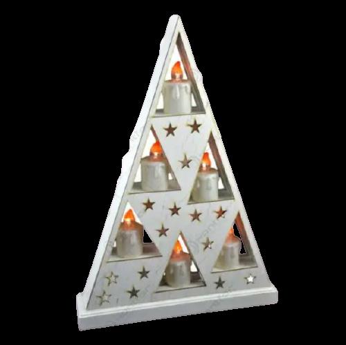 Ornament de craciun – Suport in forma triunghiulara cu 6 lumanari led albe [1]