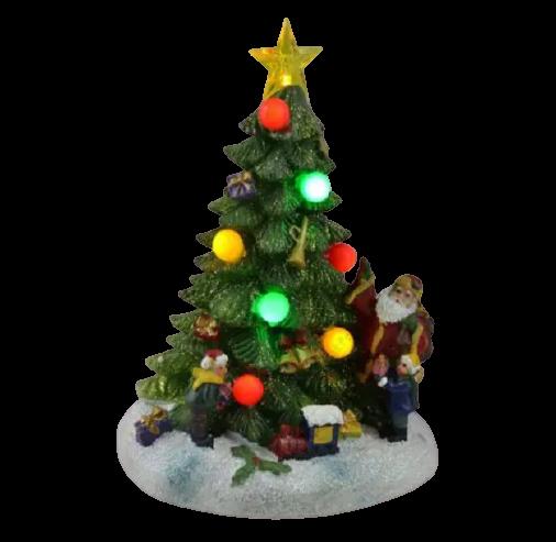 Decoratiune cu led realizata din rasina in forma de brad – Design cu globuri colorate si figurine 1