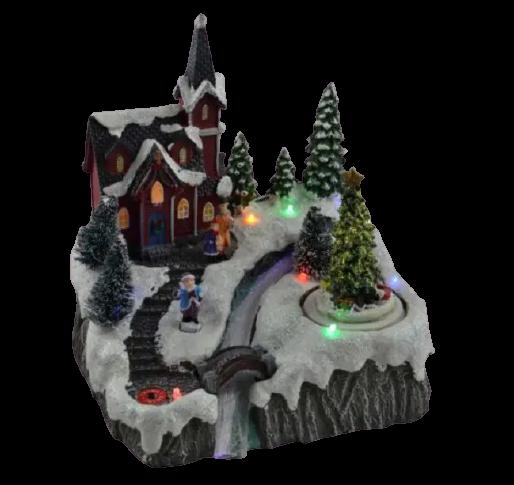 Decoratiune cu led pentru sarbatorile de iarna realizata din rasina – Casuta cu zapada brad si Mos Craciun [1]