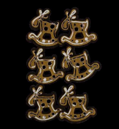Set 6 cleme decorative in forma ren de turta dulce 0