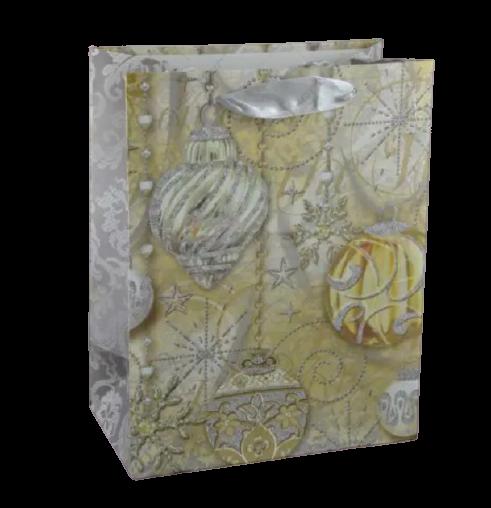 Punga pentru cadouri – Design cu brazi impodobiti cu pene de paun 0
