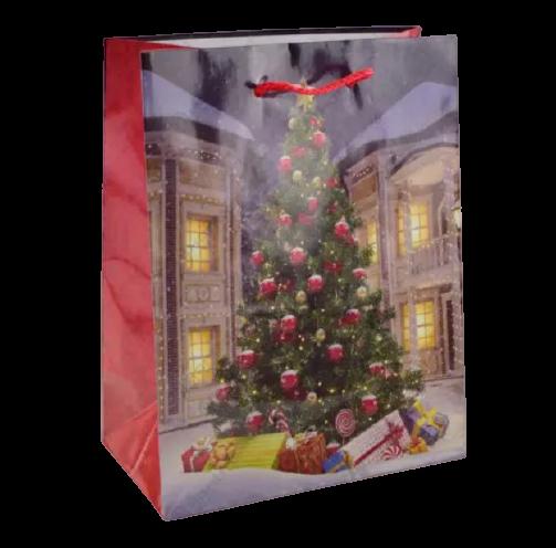Punga pentru cadouri medie – Design cu brad 0