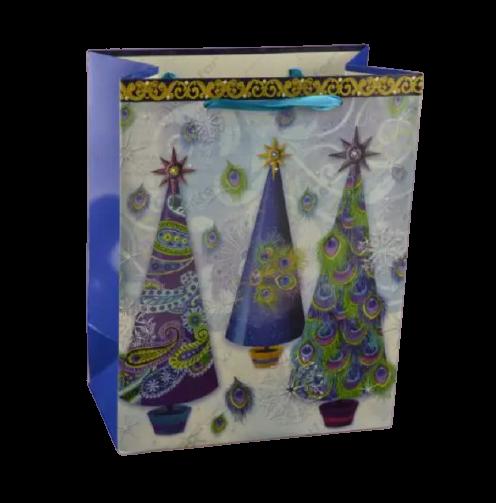 Punga pentru cadouri – Design cu brazi impodobiti cu pene de paun [0]