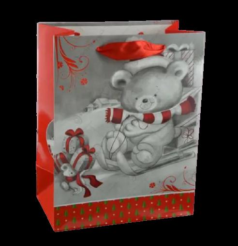 Punga pentru cadouri – Design cu ursulet pe sanie 0