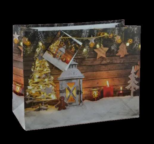 Punga pentru cadouri – Design cu zapada. lumanari si decoratiuni pentru Craciun 1