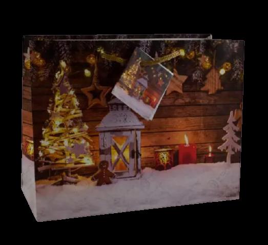 Punga pentru cadouri – Design cu zapada. lumanari si decoratiuni pentru Craciun 0