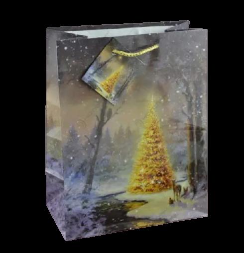 Punga pentru cadouri – Design cu brad impodobit si zapada [0]