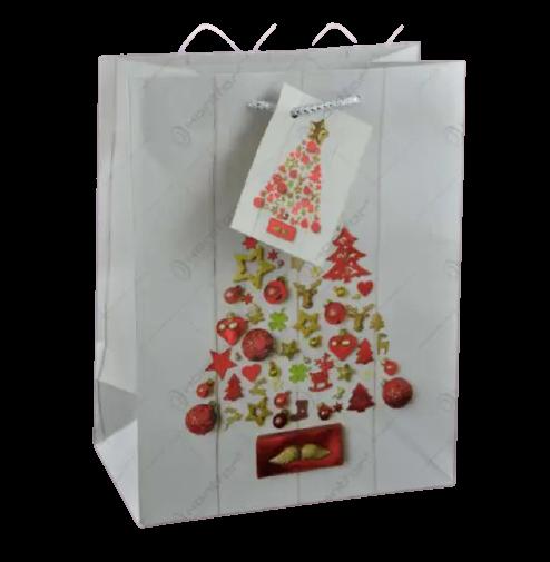 Punga pentru cadouri medie – Design cu brad de Craciun 0
