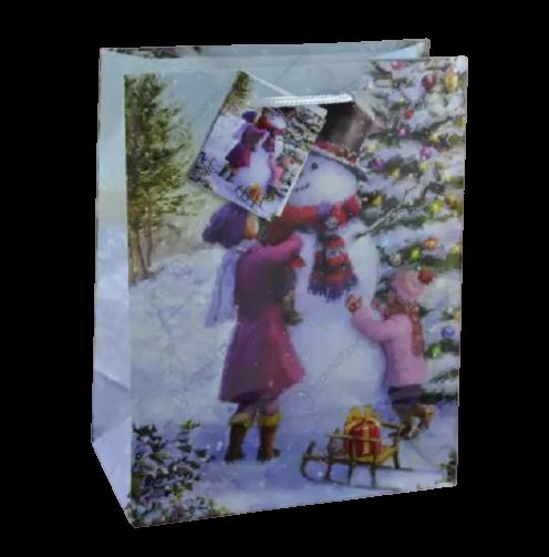 Punga pentru cadouri – Design cu om de zapada si brad impodobit 0
