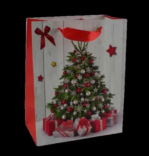 Punga pentru cadouri medie – Design cu brad impodobit si cadouri 0
