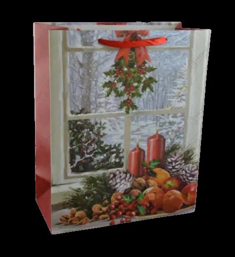 Punga pentru cadouri mare – Design cu peisaj de iarna 0