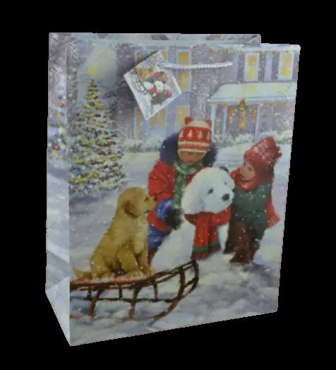 Punga pentru cadouri – Design cu copii in zapada si catelus pe sanie [0]