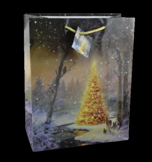 Punga pentru cadouri – Design cu brad impodobit si zapada 0