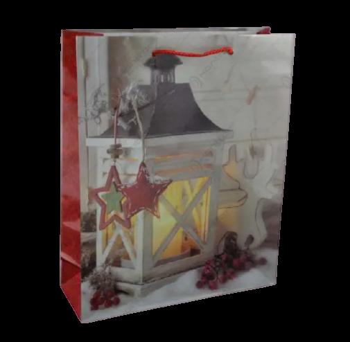Punga de cadou mare pentru Craciun – Design cu felinar si ren [0]