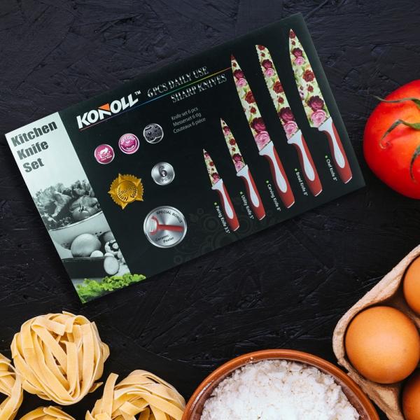 Set 5 Cutite + Dipozitiv Pentru Decojit Konoll - Otel Inoxidabil - Floral 1
