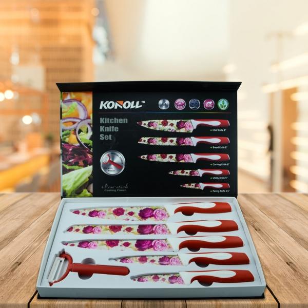 Set 5 Cutite + Dipozitiv Pentru Decojit Konoll - Otel Inoxidabil - Floral 0