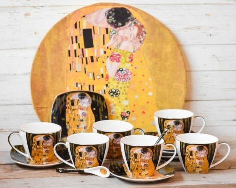 Set 6 cesti cafea + tava Klimt - Negru #2 0
